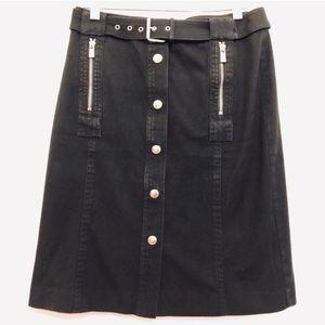 Michael Kors Belted Skirt Stretch Denim Snap blk 2